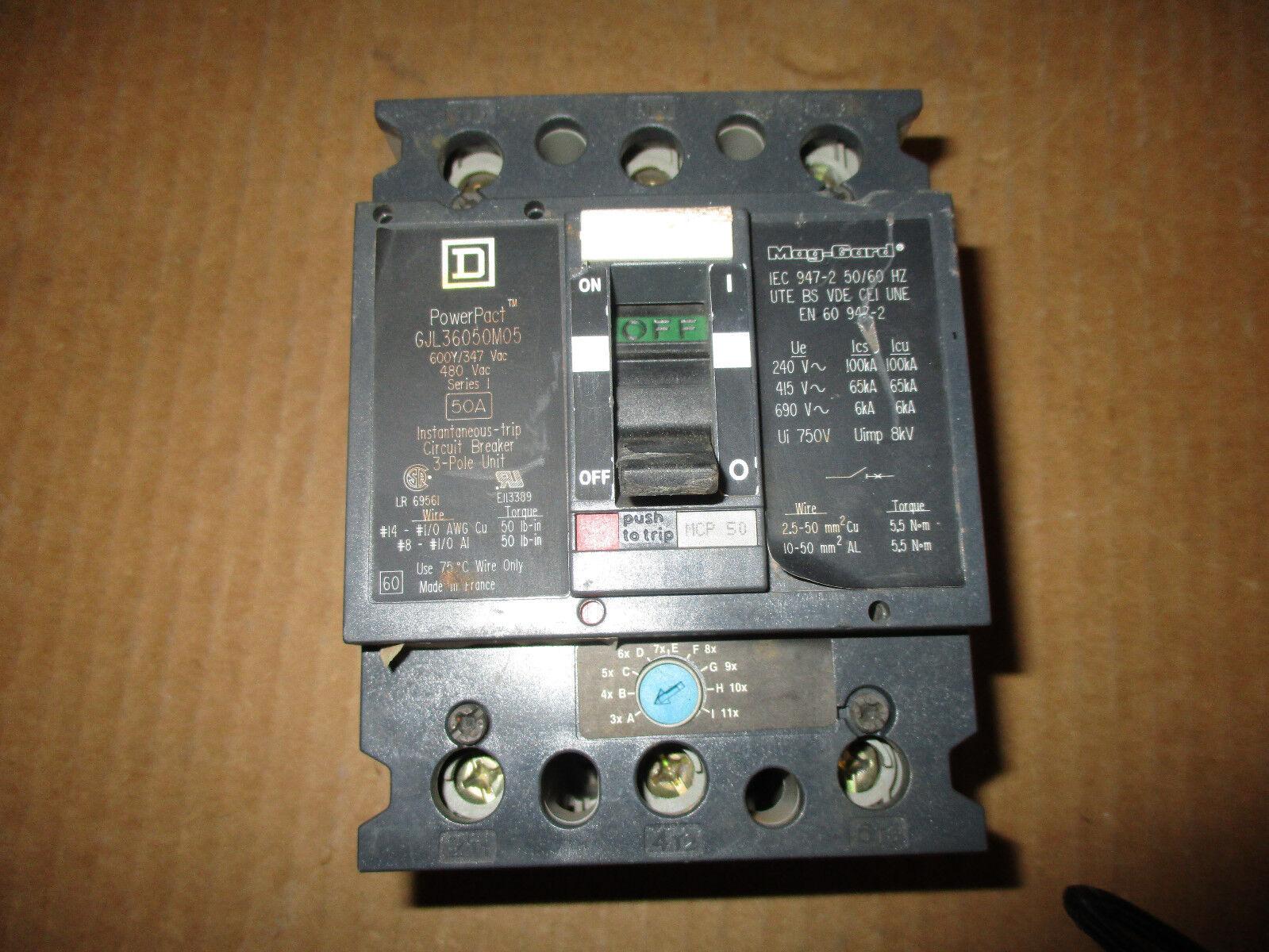 Square D Gjl36050m05 Motor Control Circuit Breaker 50 Amp 3 Pole The Lr Series Electronics 600v Ebay