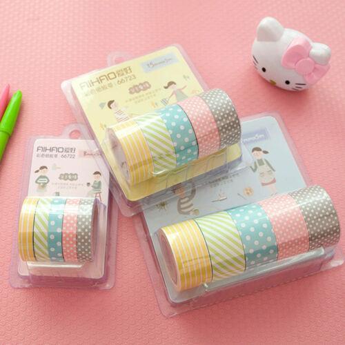 5Rollen Washi Masking Tape Klebeband Klebebänder Papier Deko Sticker DOD T8X0