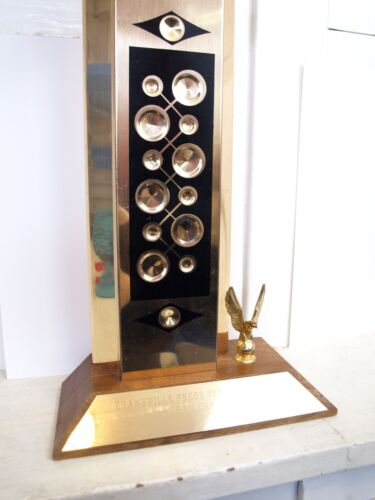 Vintage tall 60s Mid Century Modern Bowling Trophy Kitsch Eagle retro home decor