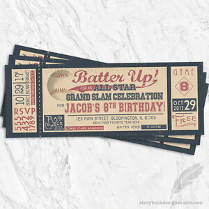 Details About Baseball Ticket Birthday Party Invitations Vintage Batter Up Bat Ball