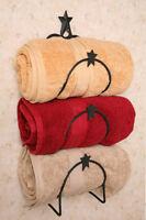 Primitive Country Star Bath Towel Holder Wall Rack Bar Bathroom Black Iron