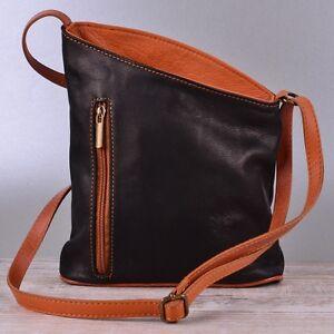 Tasche Handtasche IT Echt Leder Schultertasche Umhängetasche Ledertasche Schwarz