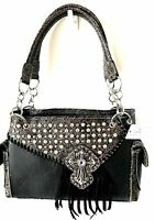 Concealed Carry Gun Handbag Case Rhinestone Large Jewel Cross Women Black Purse