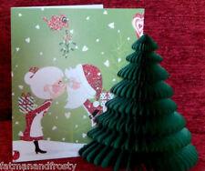POP UP 3D CHRISTMAS CARD DECORATION SANTA & MRS CLAUS KISS UNDER MISTLETOE Card