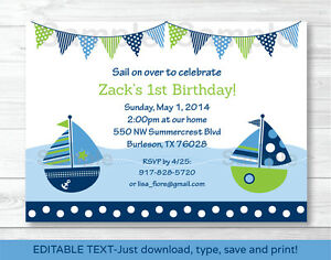 picture about Sailboat Printable called Data around Nautical Sailboat Printable Birthday Invitation Editable PDF