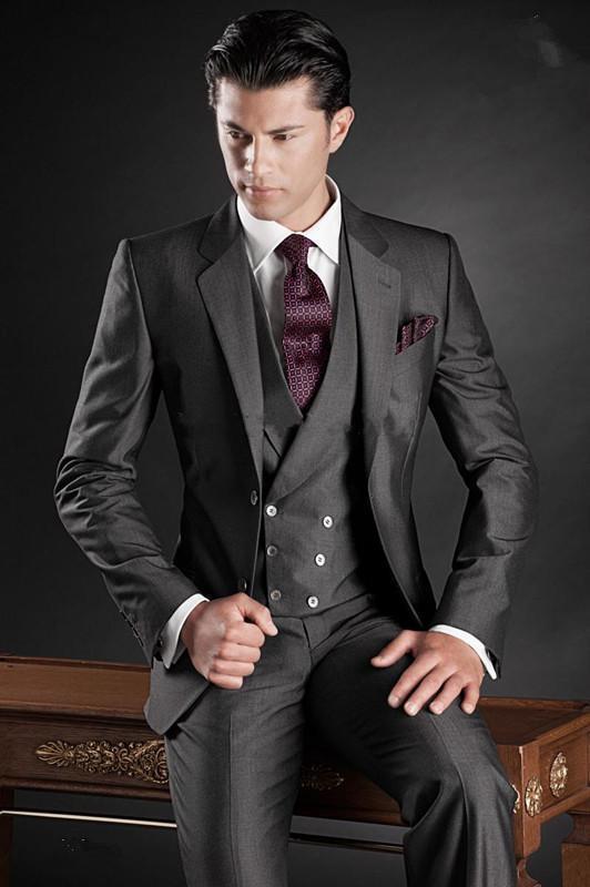 New Charcoal Men's Wedding Suits Slim Fit 3 Piece Groom Tuxedo Formal Party Suit