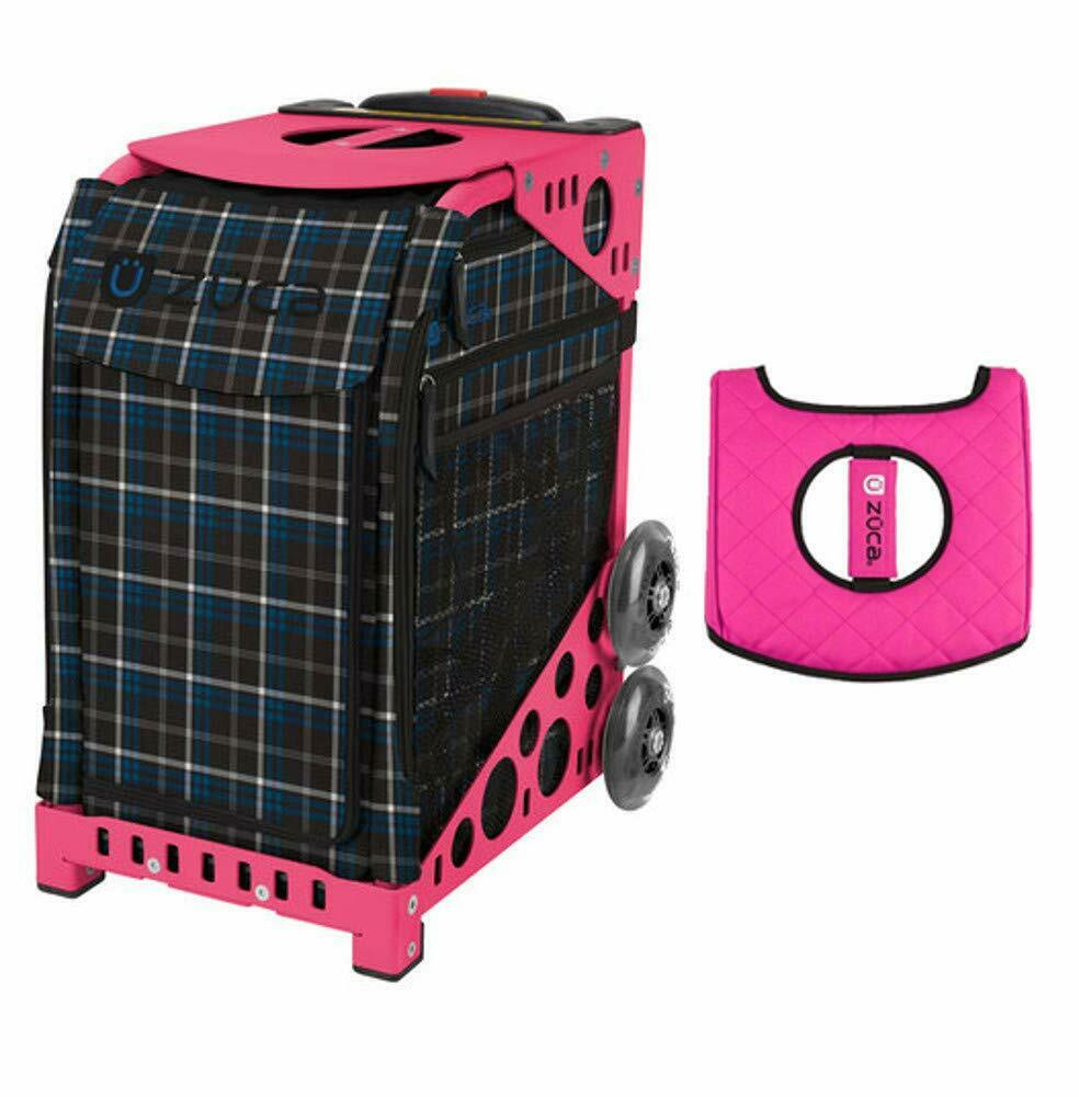 Zuca Sport  Bag - IMPERIAL PLAID w Gift Seat Cover - PINK Flashing Frame  fast shipping worldwide