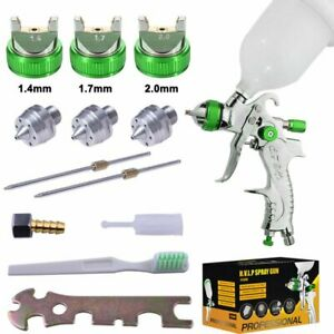Gravity-Feed-HVLP-Car-Paint-Spray-Gun-600CC-Cup-Kit-3-Nozzles-1-4-1-7-2-0mm-Set
