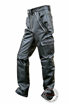 Men's Cowhide Leather Cargo Style Zipper Pockets Model Pant New 28 to 44 LLL-259