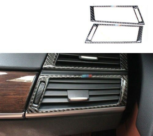 2x Carbon Fiber Front Below Outlet Vent Trim For BMW X5 X6 2008 2009 2011-2013
