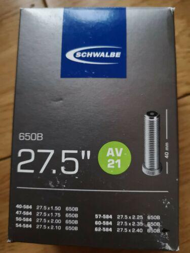 """40mm Schwalbe 27,5/"""" AV21-27.5 x 1.50-2.40 650B Schrader Tube"""