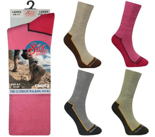 1 Pair Ladies Womens Cotton Rich Cushioned Walking Socks Hiking Boot UK 4-7 Lot