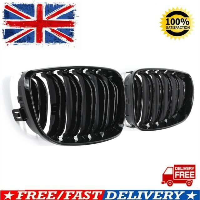 Bmw 1 E81 E82 E87 E88 2007-2011 Front Kidney Grille Chrome Frame Black Slat Left