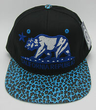 CALIFORNIA REPUBLIC Snapback Cap Hat CALI Bear Flag Black Blue Leopard Visor NWT
