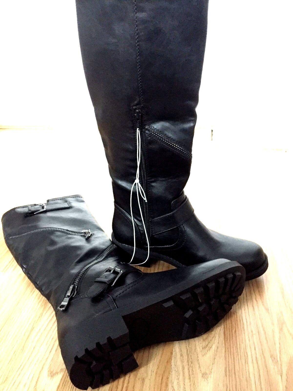 Women Black Knee High Zip Buckle Block Heel Winter Long Boot Biker Riding Size