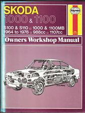 Skoda 1000 & 1100 S100 S110 1000 1100MB, 1964-78 Haynes Owners Workshop Manual