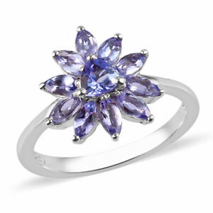 925 Sterling Silver Platinum Over Blue Tanzanite Cluster Ring Jewelry Gift Ct 1