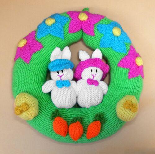 Tejer patrón-Easter Bunny Conejo Corona Decoración Colgante 22 CMS