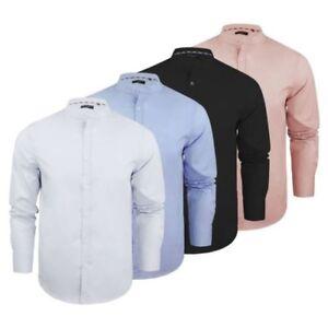 Camisa-Hombre-Brave-Soul-Magnus-Liso-Cuello-Mao-Manga-Larga-Top-Casual