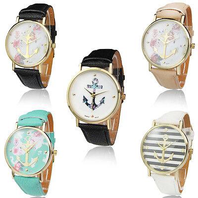 Fashion Men Women Geneva Leather Band Watch Analog Quartz Anchor Wrist Watches
