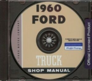 FORD 1960 Pick Up /& Heavy Duty Truck Shop Manual CD /'60