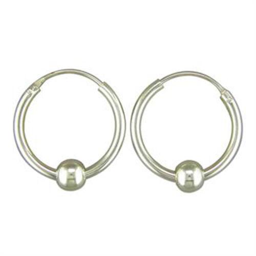 18 mm pesado con Bisagras Aro Pendientes Con 4mm Ball orejas perforadas plata esterlina 925
