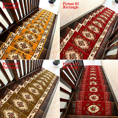 Set Of 13 Steps Stair Protector Area Rug Treads Carpet Floral Non Slip  Staircase