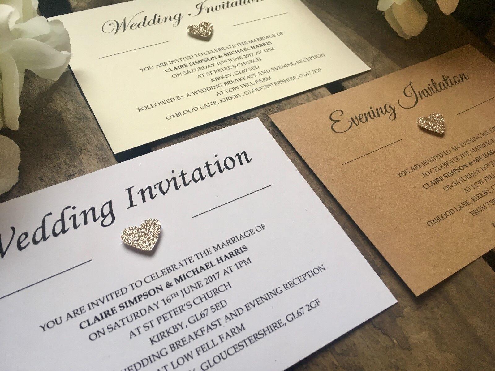 Personalised Champagne Glitter heart Wedding   Evening Invitations