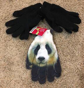 NWT-Girls-Black-Joe-Boxer-Texting-Black-Pandas-Fashion-Gloves-3-Pair