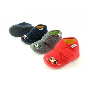 Toddler Boys Embroidered Racing Car Fleece Hook And Loop Ankle Boot Slippers