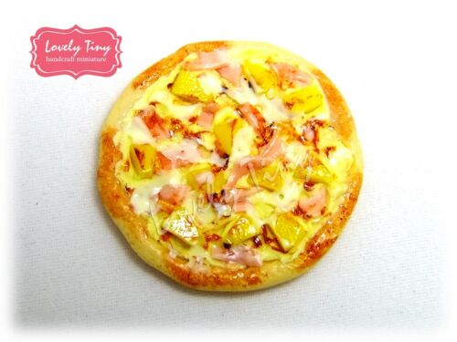 3 cm. diameter 10 pieces Dollhouse miniature Hawaiian Pizza