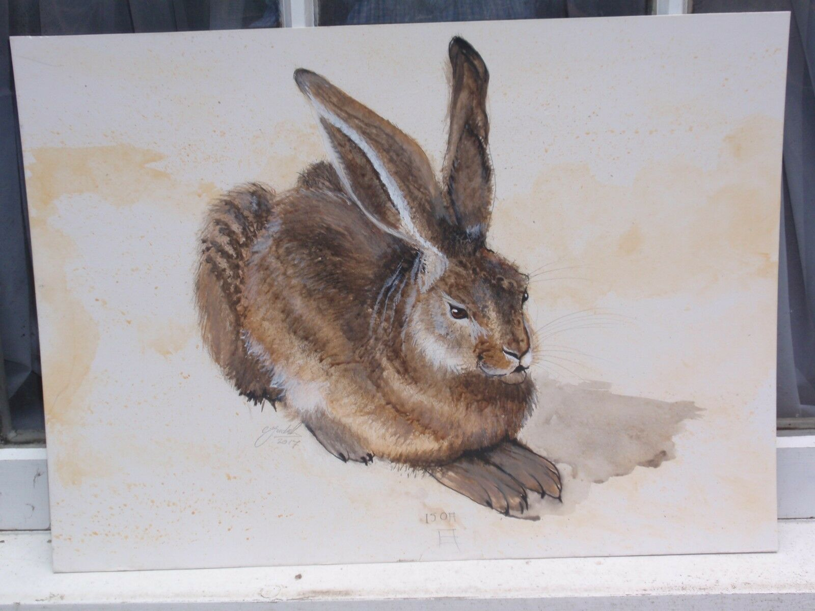 CLIVE FrotRIKSSON AFTER ALBERT DURER RABBIT SIGNED WATERFarbe PAINTING PAINTING PAINTING ON BOARD 19ea28
