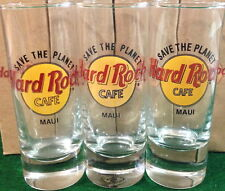 "Hard Rock Cafe MAUI 4"" SHOT GLASS 3 ""STP"" Save The Planet HRC Logo 1st 2nd & 3rd"