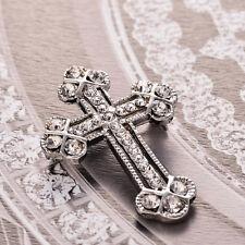 Unisex White Gold Plates Rhinestone Cross Brooch Pin Shawl Scarf Pin