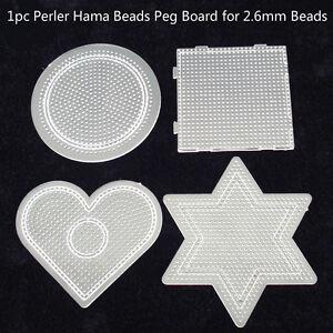 1pc-QUADRATO-TONDO-STELLA-CUORE-Perler-Hama-Beads-Peg-bordo-pareti-forate-per-fusibile-2-6mm