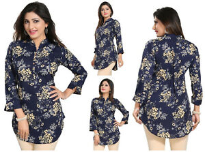 Indian-Pakistani-Designer-Navy-Blue-Party-Kurta-Kurti-Tunic-Dress-Women-SC2411A