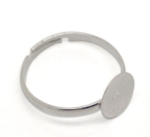 Ajustable Nueva de cabujón de fijación de los anillos de plata tono m1427
