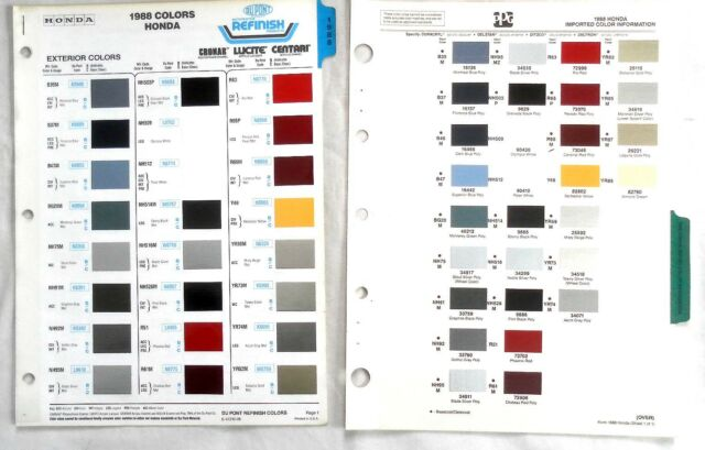 1988 HONDA DUPONT AND PPG COLOR PAINT CHIP CHARTS ALL ...