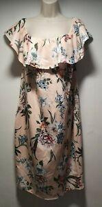 BooHoo-Peach-Floral-Sleeveless-Long-Sheath-Dress-Size-22-103g
