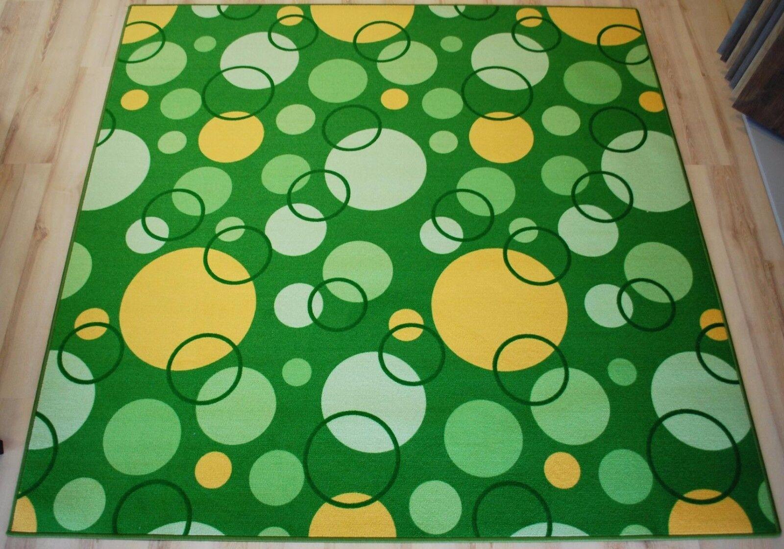 Enfants Tapis Jeu Tapis Circle vert 200x490cm cercles jaune