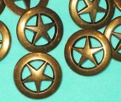 PIERCED Set 14 STAR Vintage Antiqued  BRASS MeTal New Buttons 3/4""
