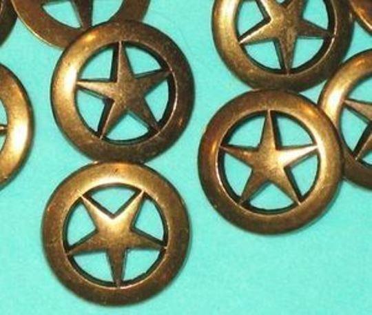 "PIERCED Set 12 STAR Vintage Antiqued  BRASS MeTal New Buttons 3/4"""