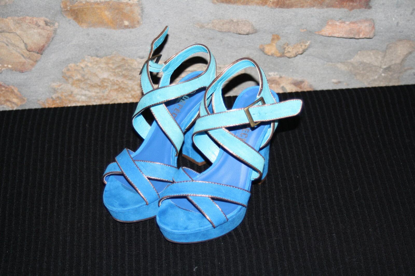 türkis - blau - gold @ Pumps @ Block Highheels @ Samba @ Plateau @ Karneval @ 36