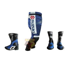 SUZUKI-GSX-BLUE-MOTORBIKE-MOTORCYCLE-COWHIDE-LEATHER-TROUSER-WITH-MATCHING-BOOTS