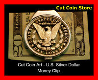 Morgan Money Clip Large Silver One Dollar Hand Cut Coin