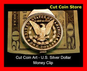 Morgan Money Clip Large Silver One Dollar Hand Cut Coin Ebay
