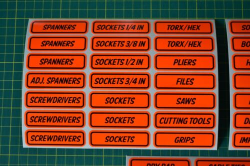 Fluorescent Toolbox Label Stickers for Workshop Garage Race Team Tool Chest
