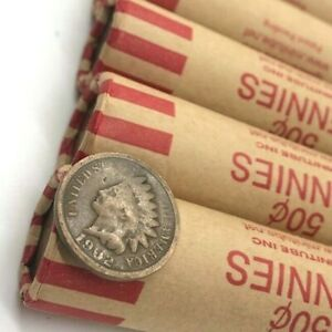 Indian-Head-Showing-On-Both-Ends-Sealed-Lincoln-Wheat-Penny-Cent-Roll