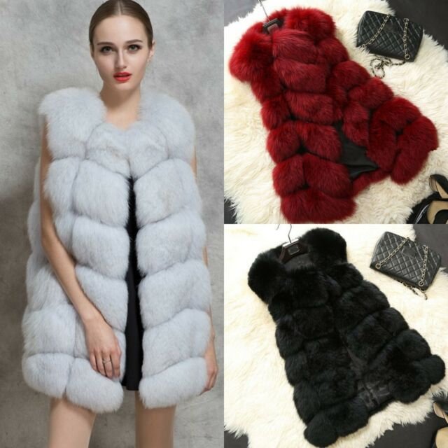 New Women's Warm Gilet Outwear Long Slim Vest Faux Fox Fur Waistcoat Jacket Coat