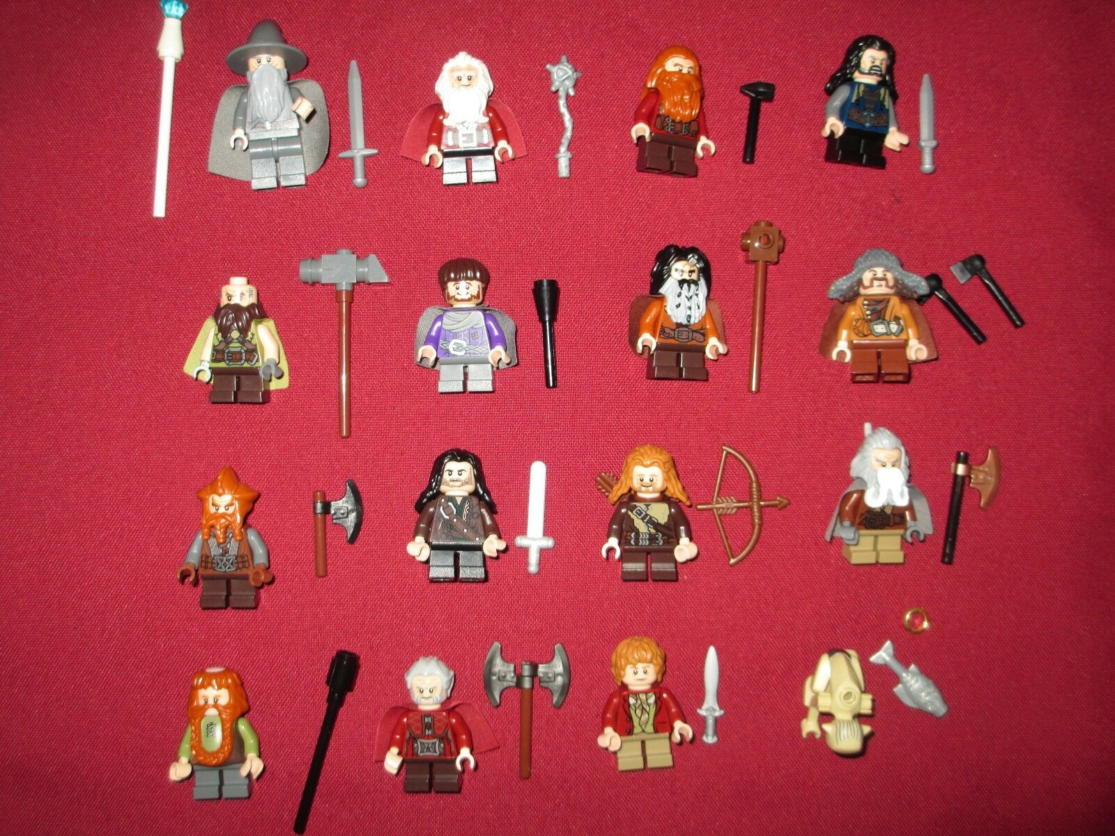 LEGO LOTR   Hobbit Minifigures Lot, Dwarves,Gollum,Gandolf,Weapons ETC